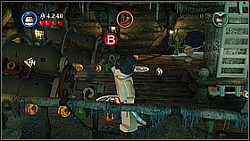 Switch to the Tattoo Pirate and go up - on the left you will find an orange bar which he can pull - Norrington's Choice - walkthrough - At World's End - LEGO Pirates of the Caribbean: The Video Game - Game Guide and Walkthrough