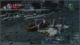 Go back at the very beginning of the level and look for the boat on the shore - Whitecap Bay - walkthrough - On Stranger Tides - LEGO Pirates of the Caribbean: The Video Game - Game Guide and Walkthrough