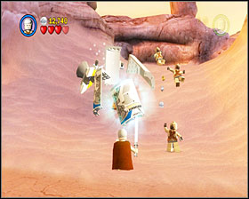 When you're in the next section, eliminate three Tusken Riders and use the loose bricks on the ground - Through the Jundland Wastes - Story Mode - Episode IV - LEGO Star Wars II: The Original Trilogy - Game Guide and Walkthrough