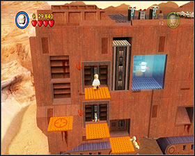 Let both characters use the levers and you'll see the entrance opening up down at the ground level - Through the Jundland Wastes - Story Mode - Episode IV - LEGO Star Wars II: The Original Trilogy - Game Guide and Walkthrough
