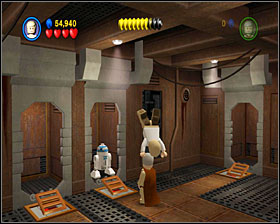 In the next room use the lever and you'll see a crate coming out of the conveyor belt - Through the Jundland Wastes - Story Mode - Episode IV - LEGO Star Wars II: The Original Trilogy - Game Guide and Walkthrough