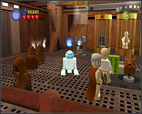 When you free R2, switch to him and use the panel on the wall, then use the elevator to go up - Through the Jundland Wastes - Story Mode - Episode IV - LEGO Star Wars II: The Original Trilogy - Game Guide and Walkthrough