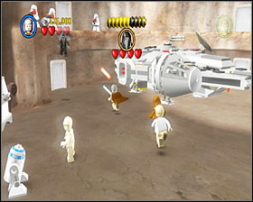 Now you're at the Millenium Falcon's hangar - Mos Eisley Spaceport - Story Mode - Episode IV - LEGO Star Wars II: The Original Trilogy - Game Guide and Walkthrough