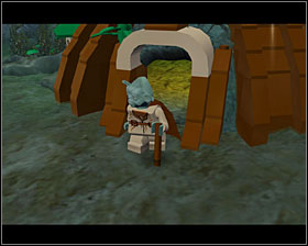 Approach Yoda and push the character switch button to have Luke carry him piggyback - Dagobah - Story Mode - Episode V - LEGO Star Wars II: The Original Trilogy - Game Guide and Walkthrough