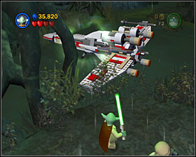 Use the Force to tear out the flowers and build a turnstile - Dagobah - Story Mode - Episode V - LEGO Star Wars II: The Original Trilogy - Game Guide and Walkthrough