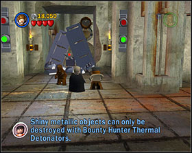When you're in the next room, destroy the device to the right and make a platform out of its remains - Jabba's Palace - Story Mode - Episode VI - LEGO Star Wars II: The Original Trilogy - Game Guide and Walkthrough