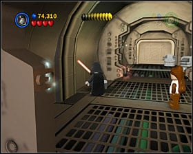 To make this minikit appear, you have to find 3 bricks with a violet face drawn on them - Secret Plans - Freeplay Mode - Episode IV - LEGO Star Wars II: The Original Trilogy - Game Guide and Walkthrough
