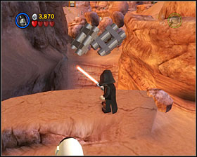 At the very beginning of the level, find a passage shown to the left - Through the Jundland Wastes - Freeplay Mode - Episode IV - LEGO Star Wars II: The Original Trilogy - Game Guide and Walkthrough