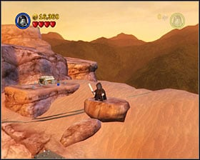Form the three metal bricks into a tower and use it to reach the platform shown on the screenshot - Through the Jundland Wastes - Freeplay Mode - Episode IV - LEGO Star Wars II: The Original Trilogy - Game Guide and Walkthrough