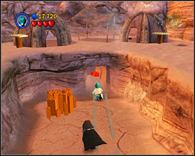 The wagon destroyed the door blocking the way to the power brick - Through the Jundland Wastes - Freeplay Mode - Episode IV - LEGO Star Wars II: The Original Trilogy - Game Guide and Walkthrough