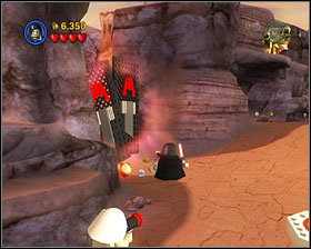 Use the Dark Side on the door at the beginning of the level, just after crossing the first abyss - Through the Jundland Wastes - Freeplay Mode - Episode IV - LEGO Star Wars II: The Original Trilogy - Game Guide and Walkthrough