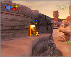 As a blaster character climb to the upper level of the ravine near the door to #1, and then as R2 hover to the left - Through the Jundland Wastes - Freeplay Mode - Episode IV - LEGO Star Wars II: The Original Trilogy - Game Guide and Walkthrough