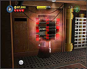 In a room with a furnace use the Dark Side on the grid shown on the screenshot - Through the Jundland Wastes - Freeplay Mode - Episode IV - LEGO Star Wars II: The Original Trilogy - Game Guide and Walkthrough