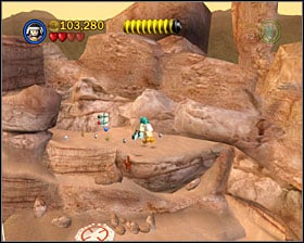 This one can be noticed easily near the swamp-dryers - Through the Jundland Wastes - Freeplay Mode - Episode IV - LEGO Star Wars II: The Original Trilogy - Game Guide and Walkthrough