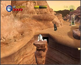 You have to jump on a platform shown on the screenshot - Through the Jundland Wastes - Freeplay Mode - Episode IV - LEGO Star Wars II: The Original Trilogy - Game Guide and Walkthrough