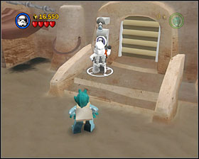 Access the stormtrooper area to the right of your starting location - Mos Eisley Spaceport - Freeplay Mode - Episode IV - LEGO Star Wars II: The Original Trilogy - Game Guide and Walkthrough