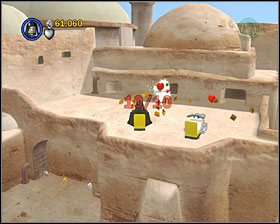 At the upper level of the stormtrooper-guarded gate use the stormtrooper access door - Mos Eisley Spaceport - Freeplay Mode - Episode IV - LEGO Star Wars II: The Original Trilogy - Game Guide and Walkthrough