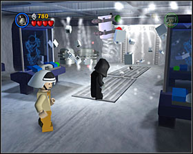 Use the Force on all computers in the first room of the level - Escape from Echo Base - Freeplay Mode - Episode V - LEGO Star Wars II: The Original Trilogy - Game Guide and Walkthrough