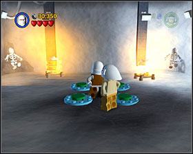 In the room where you found 3PO in Story Mode use the detonators to destroy the two shiny metal objects, then build heaters out of their remains - Escape from Echo Base - Freeplay Mode - Episode V - LEGO Star Wars II: The Original Trilogy - Game Guide and Walkthrough