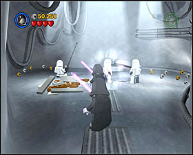 Use the R2 panel to the right of the entrance to the slider room - Escape from Echo Base - Freeplay Mode - Episode V - LEGO Star Wars II: The Original Trilogy - Game Guide and Walkthrough