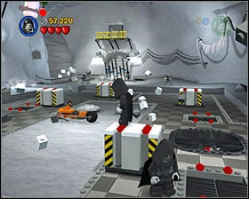 Place one of the movable crates in a spot shown on the screenshot, then double jump for a minikit - Escape from Echo Base - Freeplay Mode - Episode V - LEGO Star Wars II: The Original Trilogy - Game Guide and Walkthrough