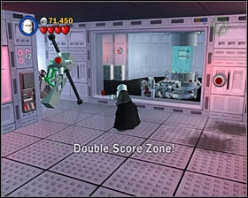 In a room with 4 buttons on the floor, use 3PO panel on the left to get into a Double Score Zone - Escape from Echo Base - Freeplay Mode - Episode V - LEGO Star Wars II: The Original Trilogy - Game Guide and Walkthrough