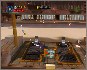On the first the and the second skiff you'll find stationary guns that can be fixed - The Great Pit of Carkoon - Freeplay Mode - Episode VI - LEGO Star Wars II: The Original Trilogy - Game Guide and Walkthrough