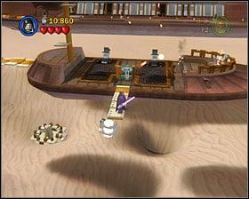 On the second skiff you'll see a plank pointing down - walk it and as R2 hover for the minikit - The Great Pit of Carkoon - Freeplay Mode - Episode VI - LEGO Star Wars II: The Original Trilogy - Game Guide and Walkthrough