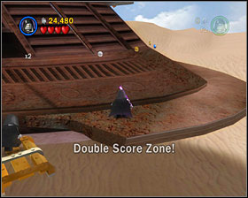 When you're at the last Skiff, use the Dark Side to create a platform that'll let you jump to the right - The Great Pit of Carkoon - Freeplay Mode - Episode VI - LEGO Star Wars II: The Original Trilogy - Game Guide and Walkthrough