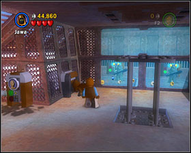 In a room where you turned on the elevator, switch to a small character and go through a tunnel nearby - The Great Pit of Carkoon - Freeplay Mode - Episode VI - LEGO Star Wars II: The Original Trilogy - Game Guide and Walkthrough