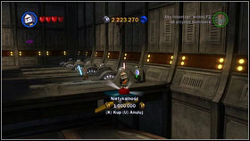 Choose whichever clone character and head to the vehicle in the middle of the hangar [M2 - Red Bricks - Separatist Ship - Other - LEGO Star Wars III: The Clone Wars - Game Guide and Walkthrough