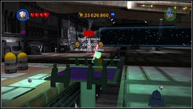 In the upper left corner of the hangar [M2 - Red Bricks - Separatist Ship - Other - LEGO Star Wars III: The Clone Wars - Game Guide and Walkthrough