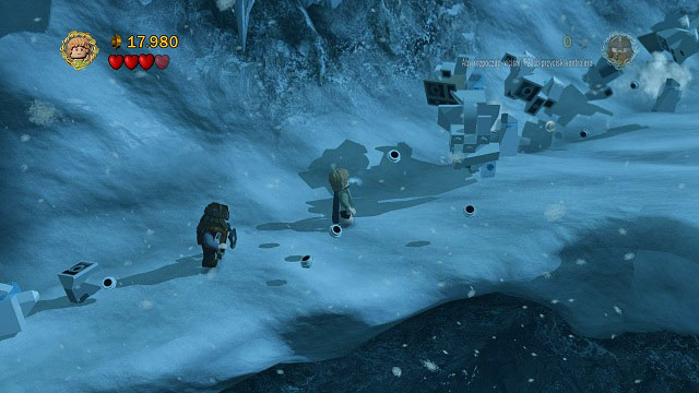 Saruman will try to stop you by sending down an avalanche - The Pass of Caradhras - Walkthrough - Act I - LEGO The Lord of the Rings - Game Guide and Walkthrough