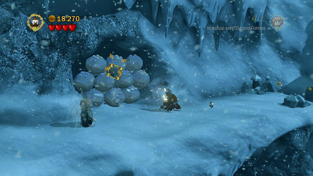 After passing by the avalanche, you will find mithril rocks by the wall - The Pass of Caradhras - Collectibles - LEGO The Lord of the Rings - Game Guide and Walkthrough