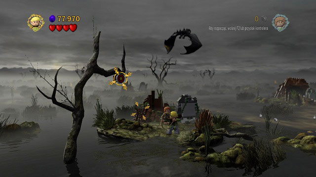 On one of the islands on which you hide from the Nazgul, you will see a target on the tree - The Dead Marshes - Collectibles - LEGO The Lord of the Rings - Game Guide and Walkthrough
