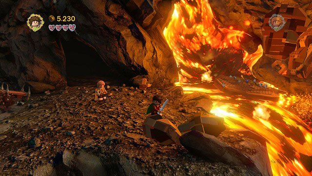 Right before the first lake of fire; destroy the nearby boulders and build a platform from its remains - Mount Doom - Collectibles - LEGO The Lord of the Rings - Game Guide and Walkthrough