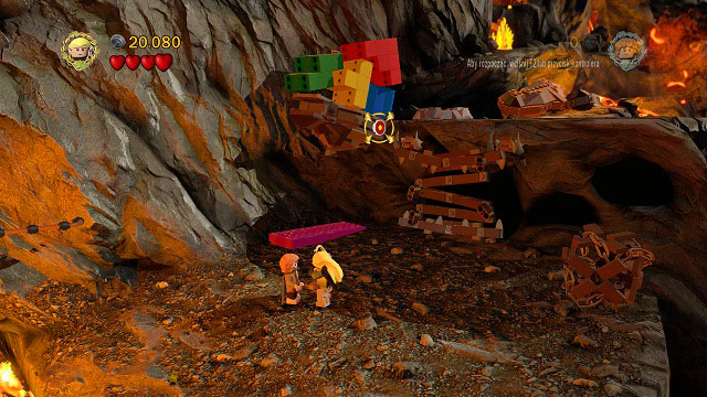 After crossing the river of fire where you found Minikit #4, you will find a few colorful bricks above you - Mount Doom - Collectibles - LEGO The Lord of the Rings - Game Guide and Walkthrough