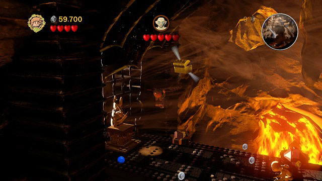Inside Mount Doom; jump onto the rail behind you and grab the chest - Mount Doom - Collectibles - LEGO The Lord of the Rings - Game Guide and Walkthrough