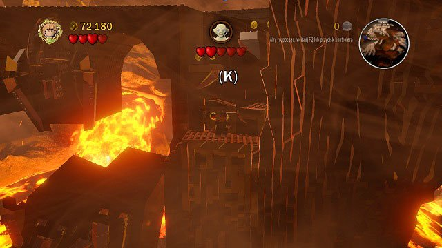 Inside Mount Doom; when Gollum throws you down for the second time, throw the rope onto the hook you will find an orange handle - Mount Doom - Collectibles - LEGO The Lord of the Rings - Game Guide and Walkthrough