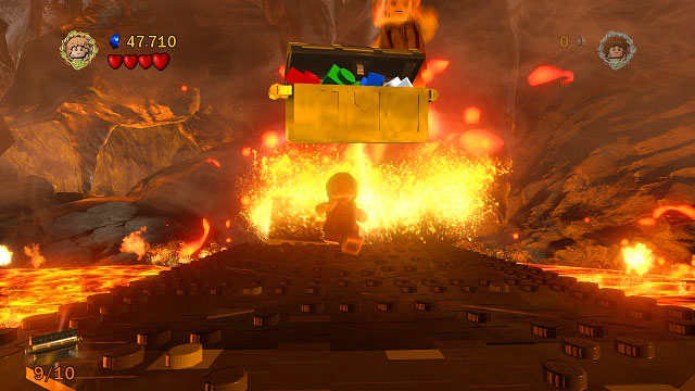 As you're escaping Mount Doom, just place yourself in the middle of the road and keep jumping to automatically pick up the chest - Mount Doom - Collectibles - LEGO The Lord of the Rings - Game Guide and Walkthrough