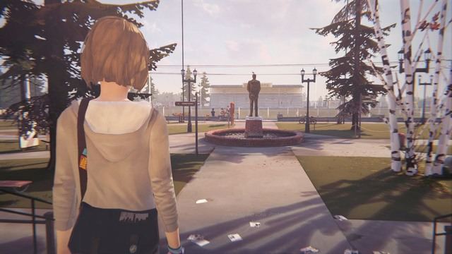 While being outside get close to the statue and take a photo of it - Photos | Episode 1: Chrysalis - Choices and decisions - Life is Strange Game Guide & Walkthrough