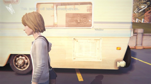 The eighth decision is the moment when you can draw something on the window of the van - Decisions | Episode 1: Chrysalis - Choices and decisions - Life is Strange Game Guide & Walkthrough
