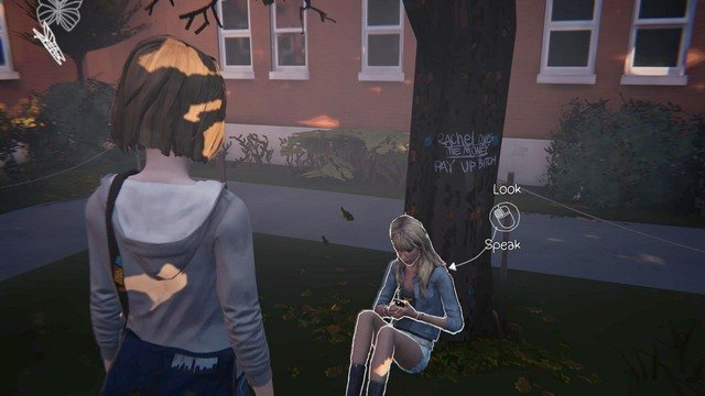 Approach Taylor, who is sitting by the tree and speak with her if you want to get another journal entry - Chapter 2 | Episode 2: Out of Time - Walkthrough - Life is Strange Game Guide & Walkthrough