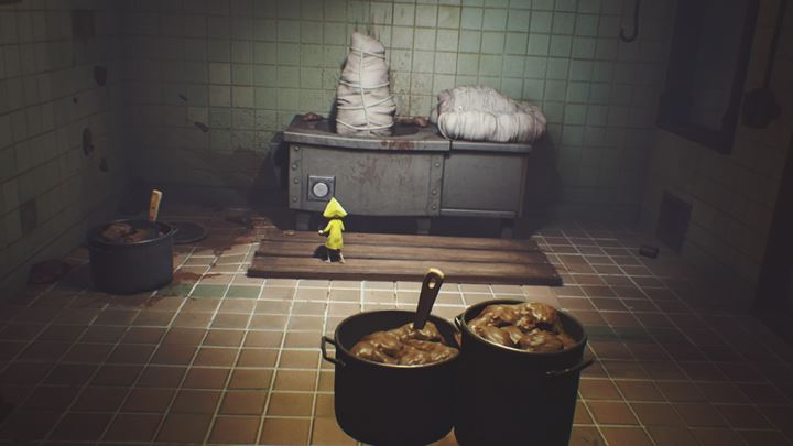 Throw an object at the button, which will alarm the cook. - Getting the next key | The Kitchen - The Kitchen - Little Nightmares Game Guide