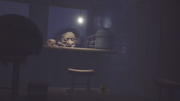 Move the stool on the right and light the torch. - Exploring the cafeteria and running from the guests | The Kitchen - The Guest Area - Little Nightmares Game Guide