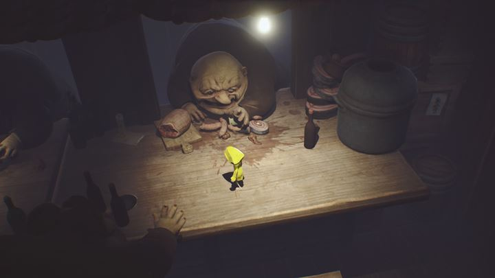 Run across the table - its best to use a combination of sprinting and jumps. - Exploring the cafeteria and running from the guests | The Kitchen - The Guest Area - Little Nightmares Game Guide