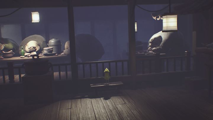Scale the railing and run from the beasts. - Exploring the cafeteria and running from the guests | The Kitchen - The Guest Area - Little Nightmares Game Guide