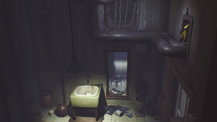 Hide from the cook, smash the mirror and use the ladder to go up. - Meeting with the cook and the final escape from the beasts | The Kitchen - The Guest Area - Little Nightmares Game Guide