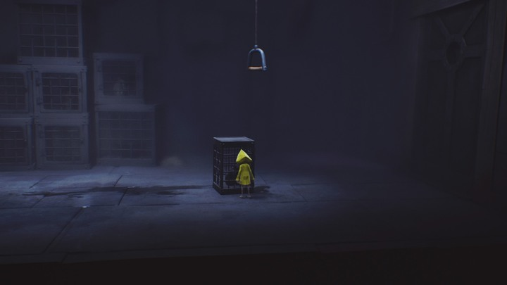 Move the cage underneath the lever. - Escape from the cage and the first encounter with the blind creature (The Lair) - The Lair - Little Nightmares Game Guide