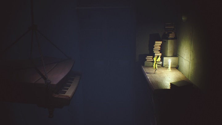 Jump onto the piano and get across to the other side. - The room with clocks and the library (The Lair) - The Lair - Little Nightmares Game Guide